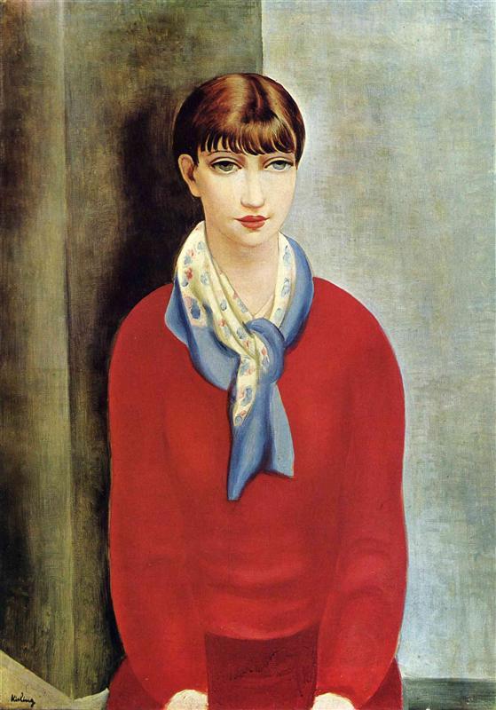 キスリング「赤い上着と青いスカーフのモンパルナスのキキ」