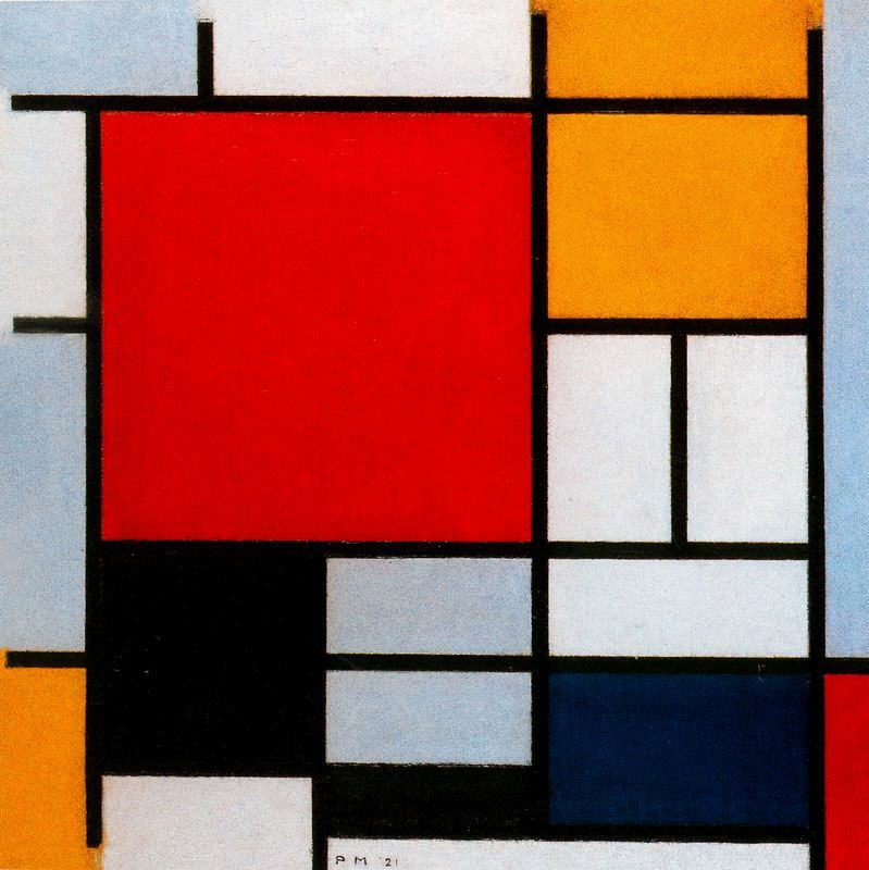 Piet Mondrian_composition-with-large-red-plane-yellow-black-gray-and-blue-1921